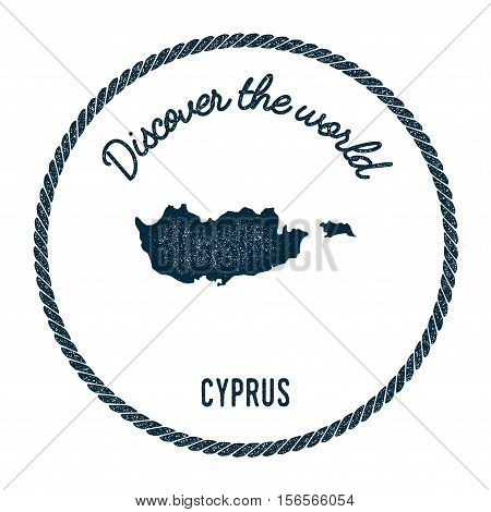 Vintage Discover The World Rubber Stamp With Cyprus Map. Hipster Style Nautical Postage Stamp, With