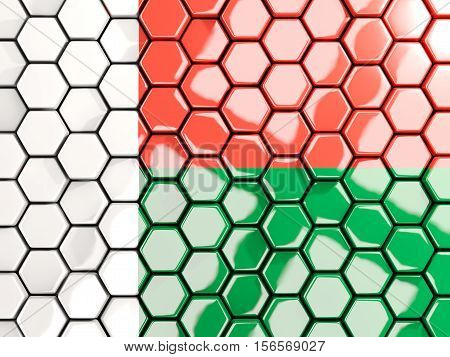 Flag Of Madagascar, Hexagon Mosaic Background