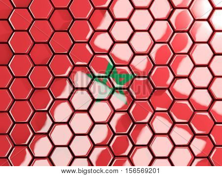 Flag Of Morocco, Hexagon Mosaic Background
