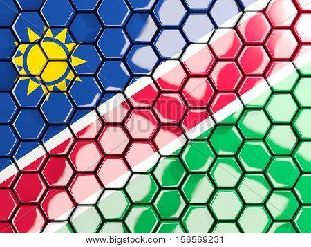 Flag Of Namibia, Hexagon Mosaic Background