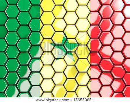 Flag Of Senegal, Hexagon Mosaic Background