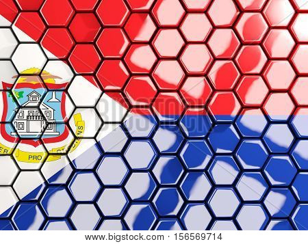 Flag Of Sint Maarten, Hexagon Mosaic Background