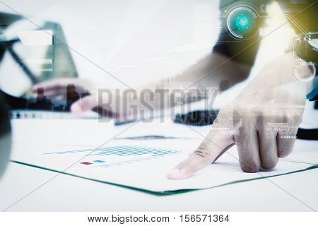 Double Exposure Of Businesswomen Prepare Documents And Working Data In Office.