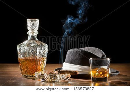 Retro Hat, Smoking Cigar And Whisky On Rock
