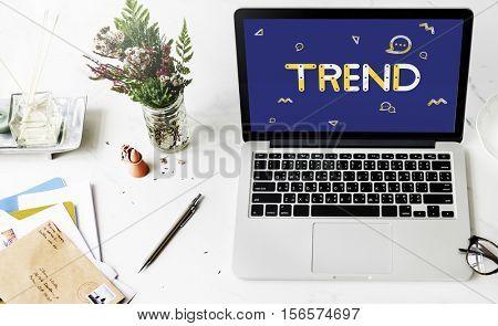 Geometric Font Media Technology Sharing Concept