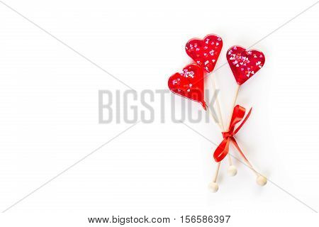 Heart shaped red lollipops for Valentines Day.