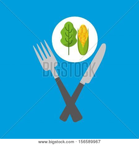 fresh eating lettuce with cob vector illustration eps 10