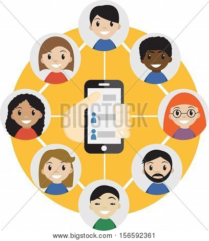 Hand holding a cell phone with  contacts of people concept. Choose person. Contact list, phonebook icon. Group of people. Call a friend icon. Social Communication Network, group of friends.Vector
