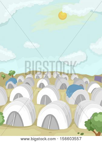 Illustration of a Refugee Camp in the Desert Populated With White Tents
