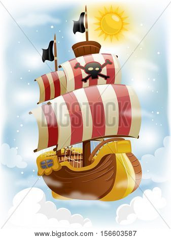 Colorful Illustration of a Pirate Ship with Red and White Striped Sails Decorated with a Skull and Crossbones - eps10