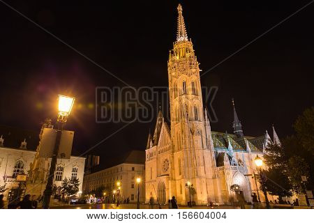 Matthias Church is a Roman Catholic church located in Budapest, Hungary, in front of the Fisherman Bastion at the heart of Buda's Castle District.