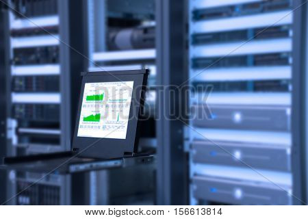 Monitor of monitoring system in data center room with server in rack cabinet