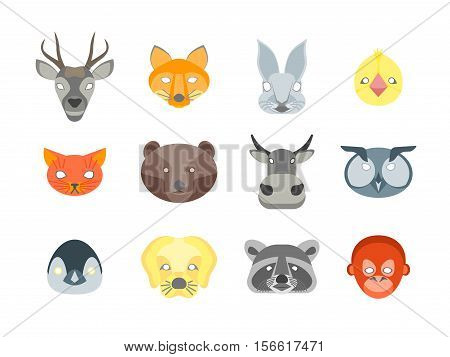 Cartoon Animals Party Mask Set for Costume. Flat Design Style Vector illustration