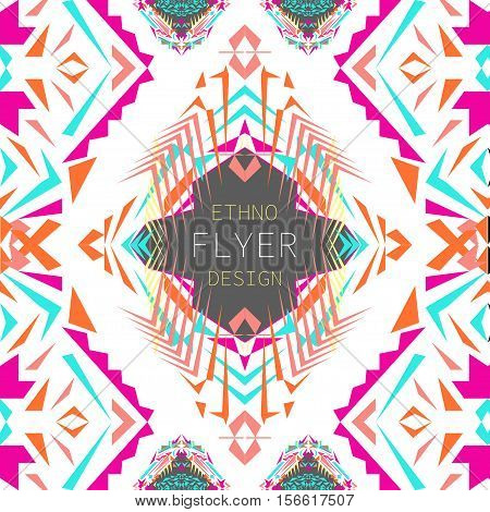 Vector geometric colorful background. Card templates for business and invitation. Ethnic tribal aztec style. Modern ethno ikat pattern
