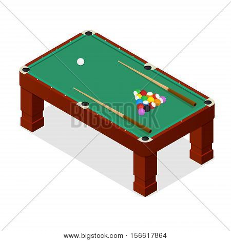 Billiard Table with Balls and Cue Isometric View for Web and App. Vector illustration