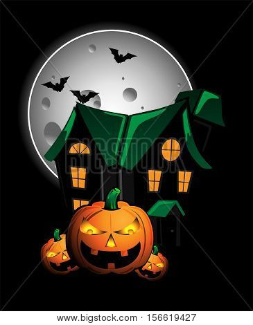 Pumpkins and haunted house vector character design