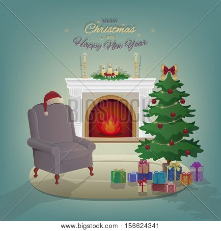 Merry Christmas home interior with a fireplace, Christmas tree, armchair, colorful boxes with gifts, candles, Santa Claus hat, decorations. Waiting for the New Year and Christmas. Vector illustration