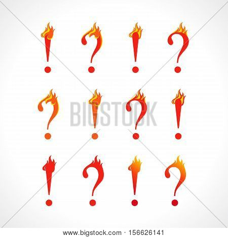 Question mark and eclamation point fire sign. Set of hot asking and answer icons. Help flame FAQ symbol. Vector discussion or support logo.