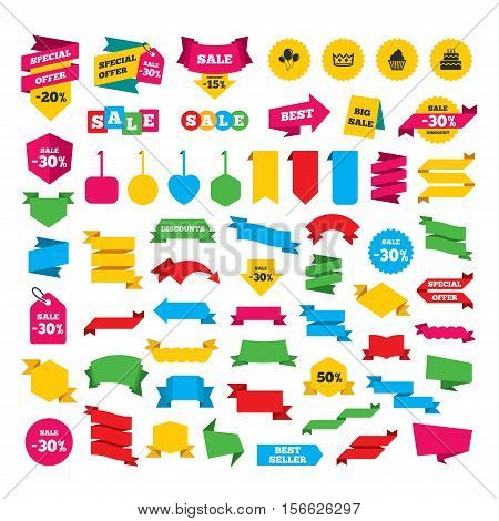 Web stickers, banners and labels. Birthday crown party icons. Cake and cupcake signs. Air balloons with rope symbol. Special offer tags. Vector