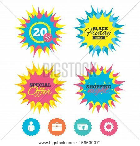 Shopping night, black friday stickers. Businessman icons. Human silhouette and cash money signs. Case and gear symbols. Special offer. Vector