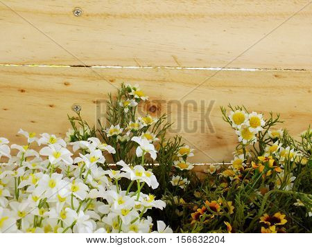 artificial flower branch with space coy on wooden background