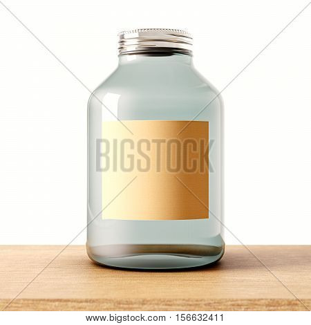 One empty jar of transparent glass with closed metal cap on the wood desk.White wall at background.Clean glassy container and craft mockup label.Drinks, food storage concept.3d rendering