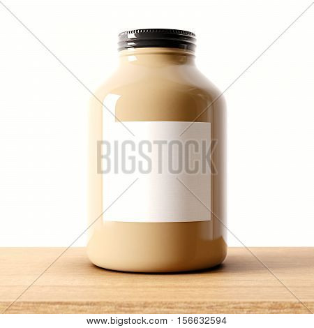 Closeup of one blank brown color glass jar on the wood desk and white wall background.Empty glassy container and gray mockup label in center.Drinks, food storage concept.3d rendering