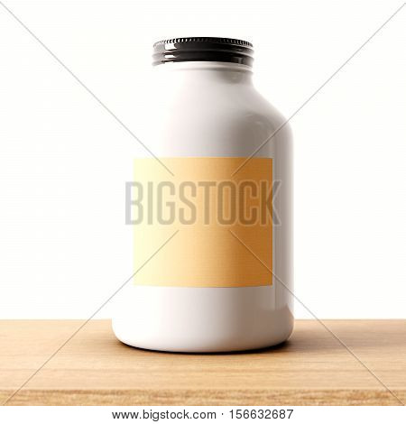 Closeup of one blank not transparent white glass jar on the wood desk and clear wall background.Empty glassy container , craft mockup label in center.Drinks, food storage concept.3d rendering