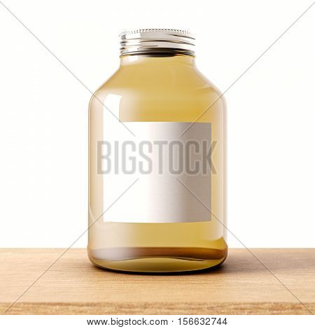 Closeup one empty jar of transparent glass with closed metal cap on the wood desk.White wall at background.Clean glassy container and gray mockup label.Drinks, food storage concept.3d rendering