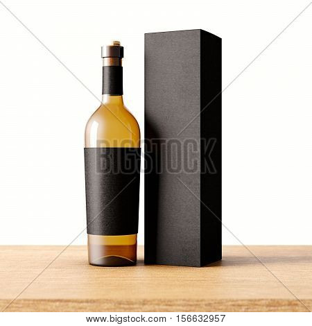Closeup one transparent glass bottle of wine on the wooden desk, white wall background.Empty glassy container concept with black mockup label and carton paper bag for bottles.3d rendering