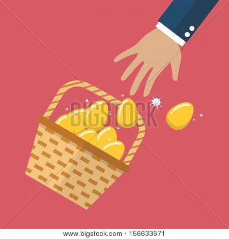 Golden eggs in basket slipped out of the hand. Vector illustration