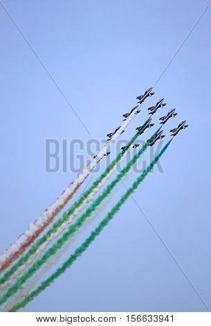 ROME - JUNE 29: The italian acrobatic team Frecce Tricolori perform at the Rome International Air Show on June 29 2014 in Rome Italy