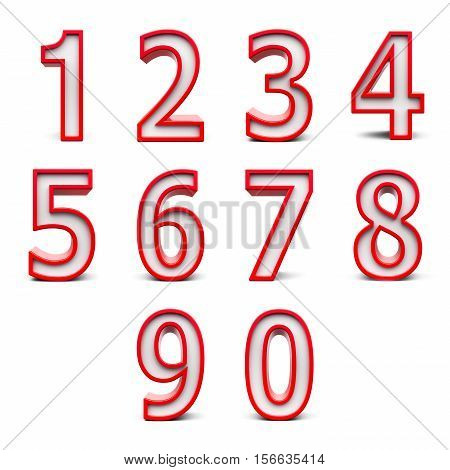Red numbers set from 0 to 9 isolated on white background three-dimensional rendering 3D illustration
