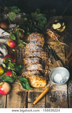 Apple strudel cake with cinnamon, sugar powder and fresh apples on rustic wooden table background, vertical composition