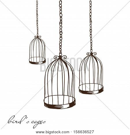 Illustration hand drawn birds cage empty group