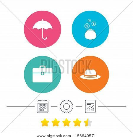Clothing accessories icons. Umbrella and headdress hat signs. Wallet with cash coins, business case symbols. Calendar, cogwheel and report linear icons. Star vote ranking. Vector