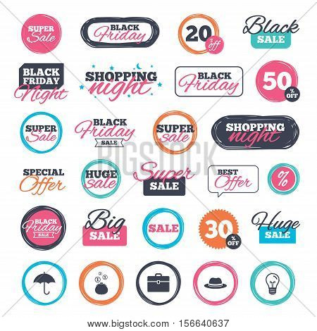 Sale shopping stickers and banners. Clothing accessories icons. Umbrella and headdress hat signs. Wallet with cash coins, business case symbols. Website badges. Black friday. Vector