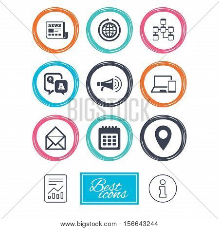 Communication icons. News, chat messages and calendar signs. E-mail, question and answer symbols. Report document, information icons. Vector
