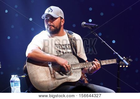 CHICAGO-NOV 9: Tyler Farr performs at CBS Radio's Stars & Stripes event at the Chicago Theatre on November 9, 2016 in Chicago, Illinois.