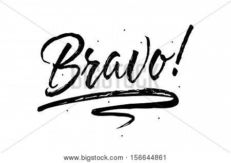 Bravo. Beautiful greeting card scratched calligraphy black text word stars. Hand drawn invitation T-shirt print design. Handwritten modern brush lettering white background isolated vector