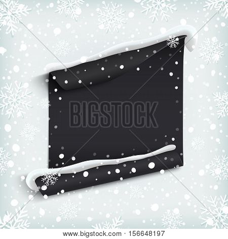 Black, abstract paper banner on winter background with snow and snowflakes. Vector illustration.