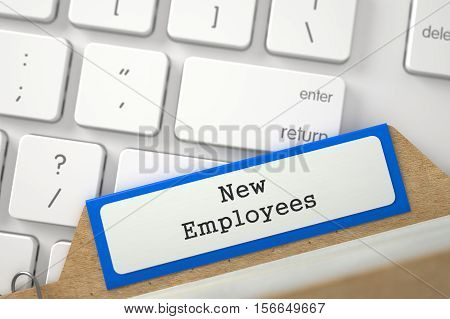 New Employees. Blue Index Card on Background of White PC Keypad. Archive Concept. Closeup View. Blurred Image. 3D Rendering.