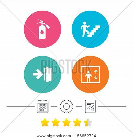 Emergency exit icons. Fire extinguisher sign. Elevator or lift symbol. Fire exit through the stairwell. Calendar, cogwheel and report linear icons. Star vote ranking. Vector