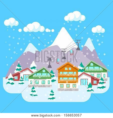 Mountain Ski Resort with Winter Landscape, Hotels and Lift. Vector background