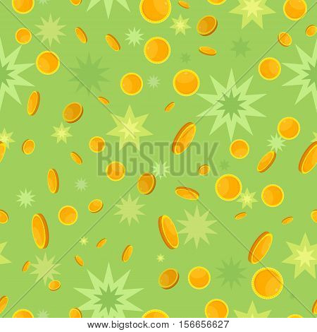Seamless pattern with golden coins falling down and star splashes. Cartoon style. Golden money. Business success, bank credits, deposit, investment, saving, fortune concept. Modern flat design. Vector