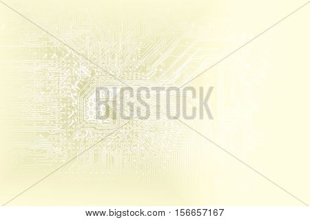 Abstract Conceptual Golden Background Of Digital Technologies With Copy Space For Your Inscription.