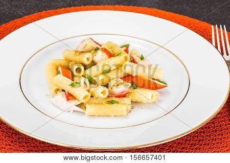 Pasta with Crab Sticks and Cheese Studio Photo