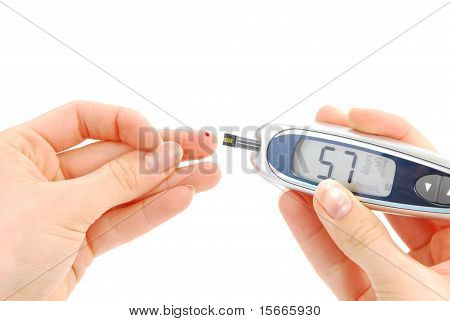Diabetic Patient Measuring Glucose Level Blood Test