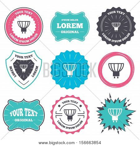 Label and badge templates. Light bulb icon. Lamp GU10 socket symbol. Led or halogen light sign. Retro style banners, emblems. Vector