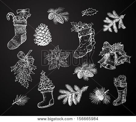Christmas chalk sketch gift stocking sock, pine wreath, fir cone, spruce branch, holly leaf bow, bauble ball, bell, Santa winter boot, Christmas tree. Isolated vector hand drawn icons on blackboard